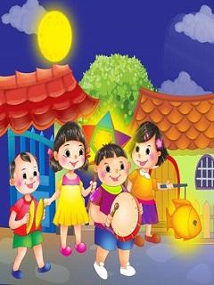 Hình nền trẻ em rước đèn trung thu vui thật vui