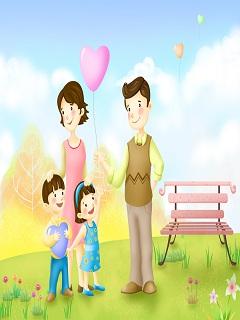 Hình ảnh hoạt hình về gia đình đầy ắp yêu thương