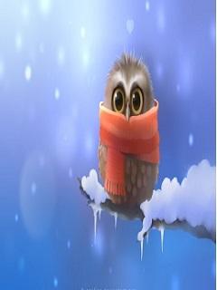 Tải hình nền 3d cho máy tính chú cú con đơn độc trong mùa đông