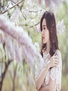 Hình nền con gái xinh nhẹ nhàng và e ấp bên đóa hoa dại