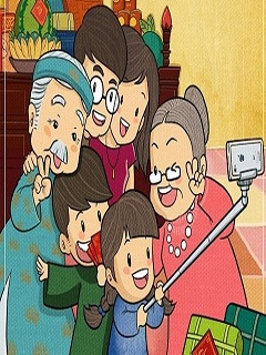 Hình nền năm mới Mậu Tuất bên gia đình vui nhộn