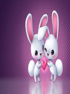 Hình nền tình yêu đẹp cặp đôi thỏ đáng yêu năm 2018