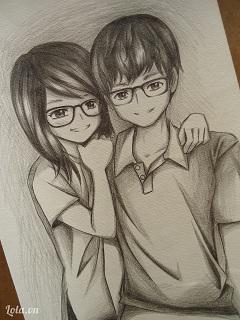 Hình vẽ người hoạt hình cặp đôi kính cận kute năm 2018