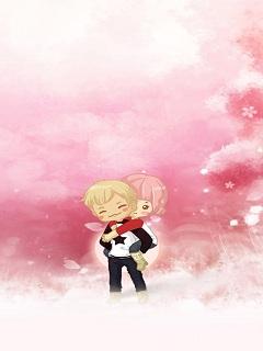 Hình nền của hoạt hình với trái tim tình si lãng mạn